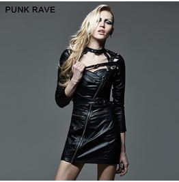 Punk Rock Black Leather Short Jacket For Women