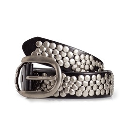 Womens Studded Leather Belt In Black