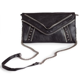 Black Leather Shadow Wristlet Bag With Zipper Detail