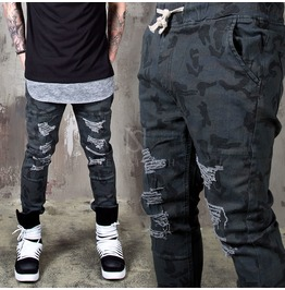 [Special Price] Distressed Camouflage Banding Pants 238
