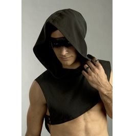 Mens Asymmetrical Hooded Rebel Cape In Storm Gray Organic Cotton