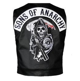Men Soa Leather Vest Sons Of Anarchy Real Leather Vest For Men