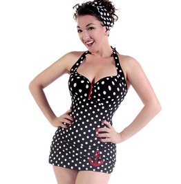Women's Polka Dot Anchor Retro Pin Up Sailor Swimsuit