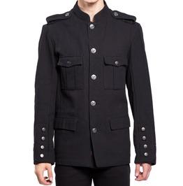 Men Military Style Coat Band Parade Leader Rocker Goth Emo Army Jacket Coat