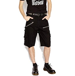 Men Gothic Bondage Pant Punk Metal Rock Black Chain Strap Zipper Goth Short