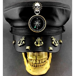 Men Steampunk Skull Compass Anchor Rivets Hat