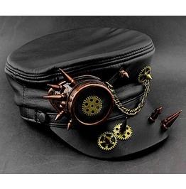 Men Steampunk Goggle Gear Spikes Hat