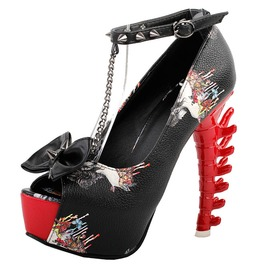 Urban Women's Skull Printed Peeptoe High Heels