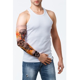 Skulls On Fire Unisex Tattoo Mesh Sleeve