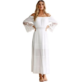 Boho Women s White Off Shoulder Lace Dress cbd6f598720f