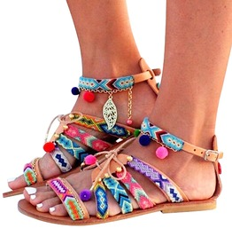 Bohemian Women's Mid High Flat Sandals