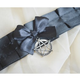 Gothic Choker * Black Witch *Black Collar With Pentagram