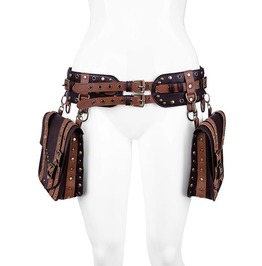 Restyle Brown Saddle 2 Pockets Synthetic Leather Steampunk Belt Waistbag
