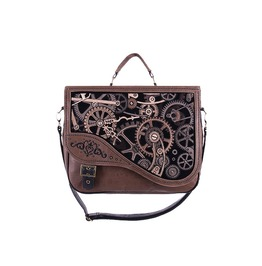 Restyle Mechanism Gears Brown Synthetic Leather Steampunk Messenger Bag