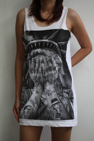 Street/Urban Fashion Sad Liberty Shirt Women T Shirt Vest Singlet Tank Top - Tanks & Camis