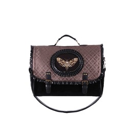 Restyle Moth Cameo Brown Brocade Leather Trim Goth Steampunk Messenger Bag