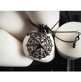 Star Of The Destiny Silver Necklace/Black [Medieval]Collection