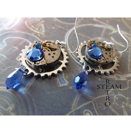 Vintage Watch Movement Steampunk Saphire Earrings