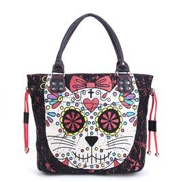 Cat Sugar Skull Gothic Women Handbag