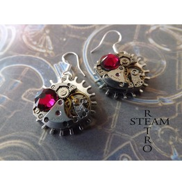 Vintage Watch Movement Steampunk Ruby Earrings