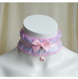 Lolita Choker * Alpenglow * Pleated Pastel Kawaii Choker With Lace
