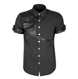 Punk Rave Y 757 Pocket Harness Black Cotton Steampunk Short Sleeve Shirt