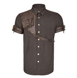 Punk Rave Y 757 Pocket Harness Brown Cotton Steampunk Short Sleeve Shirt