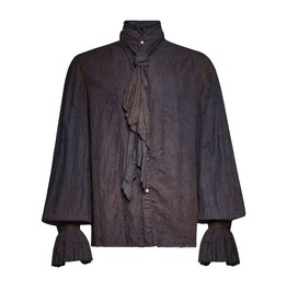 Punk Rave Y 714 Pirate Aged Ragged Black Linen Steampunk Long Sleeve Shirt