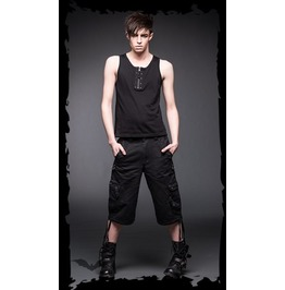 Men's Black Gothic Industrial Punk Shorts Mens Streetwear