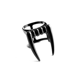 Bite | Ring In Black ~ Vampire Fangs Double Ring | Trickery