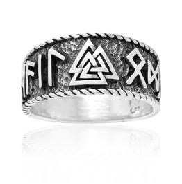 Sterling 925 Silver Viking Valknut Runes Norse Futhark Handmade Ring