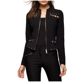 Ripped Punk Hollow Out Black Women Jacket