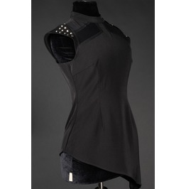 Black Space Girl Spiked Tunic Shirt Studded Gothic Top