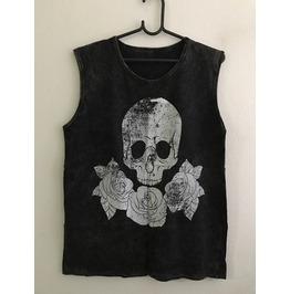 Skull Roses Fashion Stone Wash Vest Tank Top M