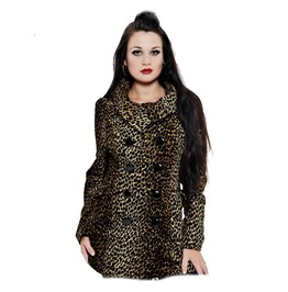 Ladies Leopard Print Coat Double Breasted High Collar Jacket
