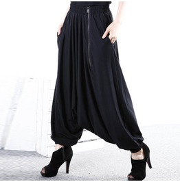 Side Pockets Long Zipper Decor Baggy Harem Pants