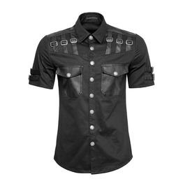 Punk Rave Y 744 Leather Buckles Black Short Sleeve Industrial Goth Shirt