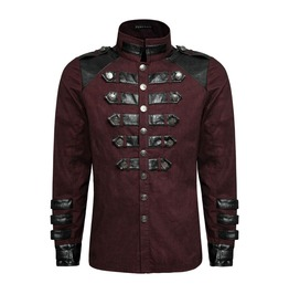 Punk Rave Y 753 Leather Trim Button Uniform Red Long Sleeve Military Shirt