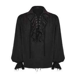 Punk Rave Wy 873 Raggy Frill Black Cotton Long Sleeve Mediaeval Goth Shirt