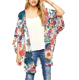 Trendy Women's Floral Print Cover Up Kimono
