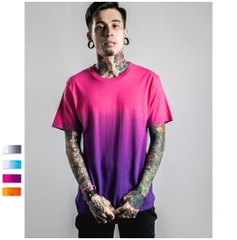 Trendy Gradient Color All Over Print Men T Shirt