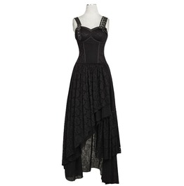 Punk Rave Q 291 Black Lace Goth Steampunk Post Apocalyptic Long Maxi Dress