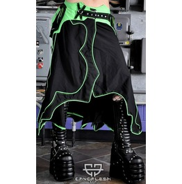 Radiation Uv Reactive Green Psytrance Cybergoth Wrap Skirt