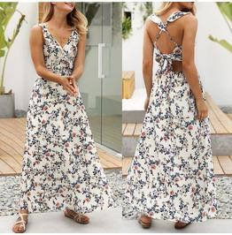 Long Maxi Falbala Dress Vneck Sleeveless Evening Party Summer Beach