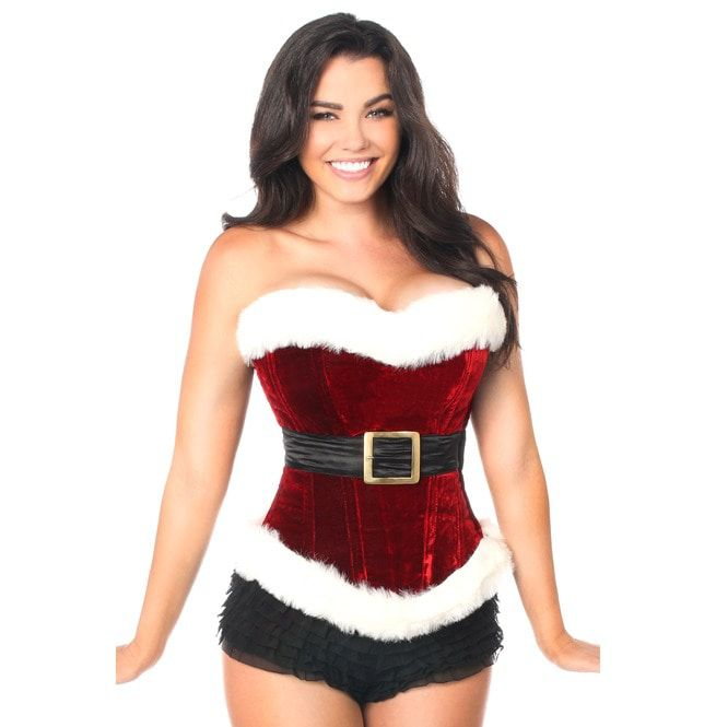 4361522cb26 Top Drawer Red Holiday Velvet Steel Boned Corset