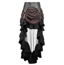 Punk Rave Q 302 Veil Tail Leather Garter Brown Stripe Steampunk Hi Lo Skirt