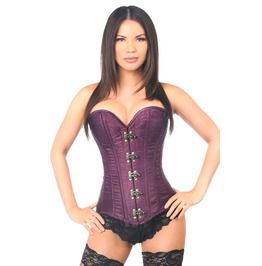 Plum Brocade Clasp Closure Purple Back Lacing Over Bust Corset
