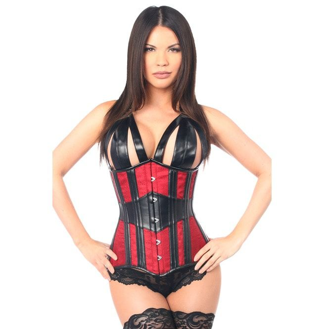 70fc9675fe3 Top Drawer Faux Leather   Brocade Steel Boned Underbust Corset