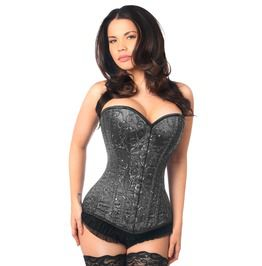 Top Drawer Elegant Black Embroidered Steel Boned Corset