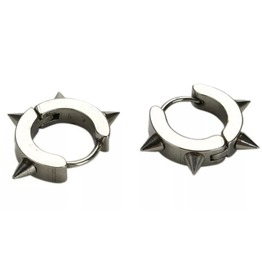 Hardcore! Silver Chrome Four Spike Metal Hoop Earrings